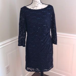 Jessica Howard Navy Blue Sequined Cocktail Dress